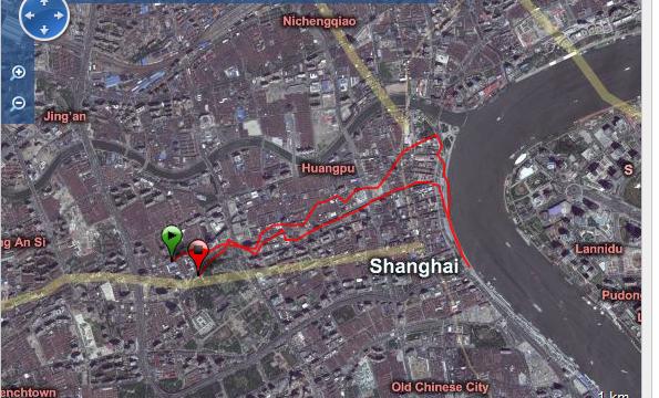 Corriendo en Shangai Ruta - China - Vuelta al Mundo